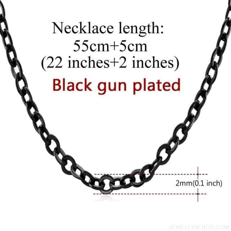 Basic Chains 3Mm/2Mm Twisted Rope Chain Necklace - Black 1 - Custom Made | Free Shipping