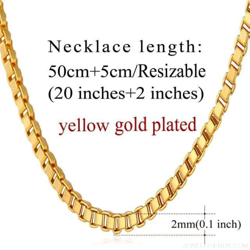 Basic Chains 3Mm/2Mm Twisted Rope Chain Necklace - Gold Plated 1 - Custom Made | Free Shipping
