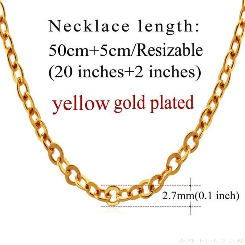 Basic Chains 3Mm/2Mm Twisted Rope Chain Necklace - Gold Plated 3 - Custom Made | Free Shipping