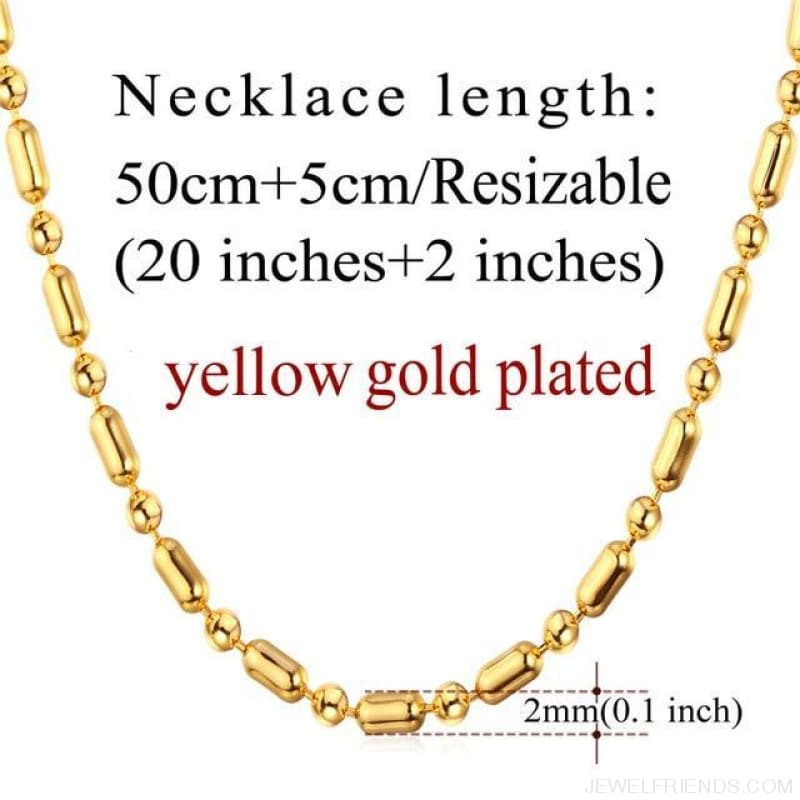 Basic Chains 3Mm/2Mm Twisted Rope Chain Necklace - Gold Plated 4 - Custom Made | Free Shipping