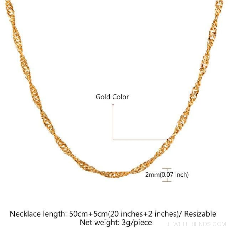 Basic Chains 3Mm/2Mm Twisted Rope Chain Necklace - Gold Plated 6 - Custom Made | Free Shipping