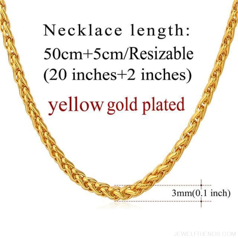 Basic Chains 3Mm/2Mm Twisted Rope Chain Necklace - Gold Plated - Custom Made | Free Shipping