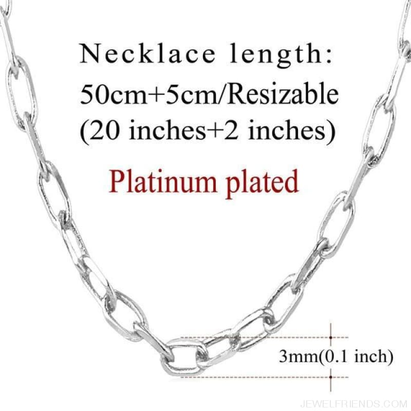 Basic Chains 3Mm/2Mm Twisted Rope Chain Necklace - Platinum Plated 1 - Custom Made | Free Shipping