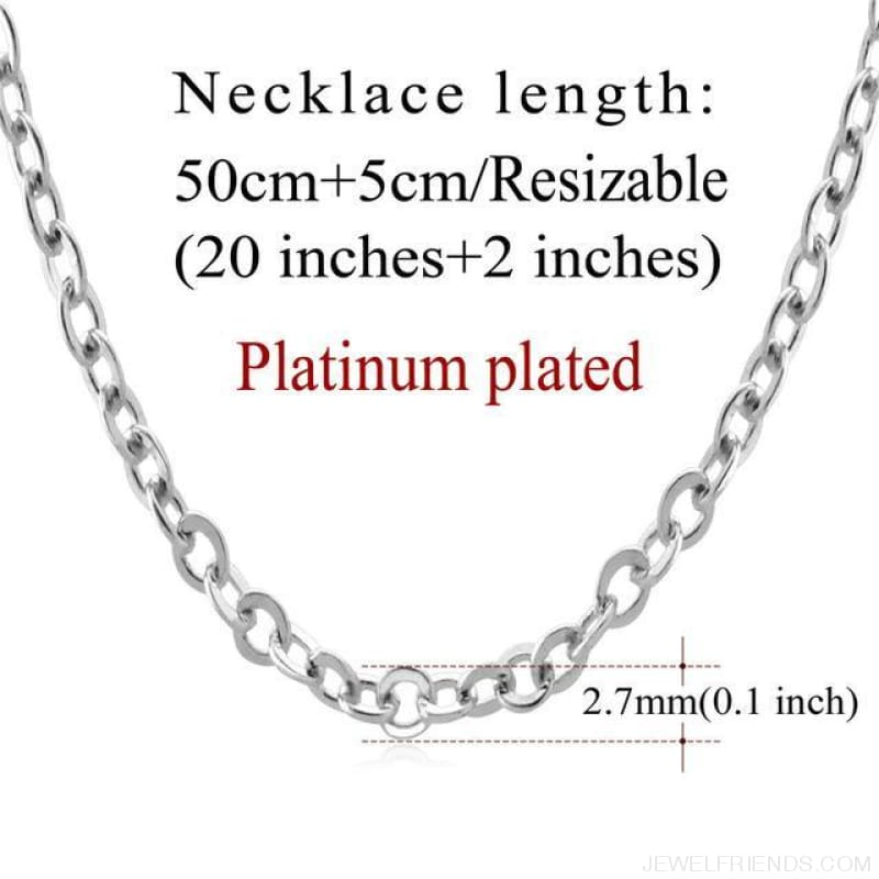 Basic Chains 3Mm/2Mm Twisted Rope Chain Necklace - Platinum Plated 2 - Custom Made | Free Shipping