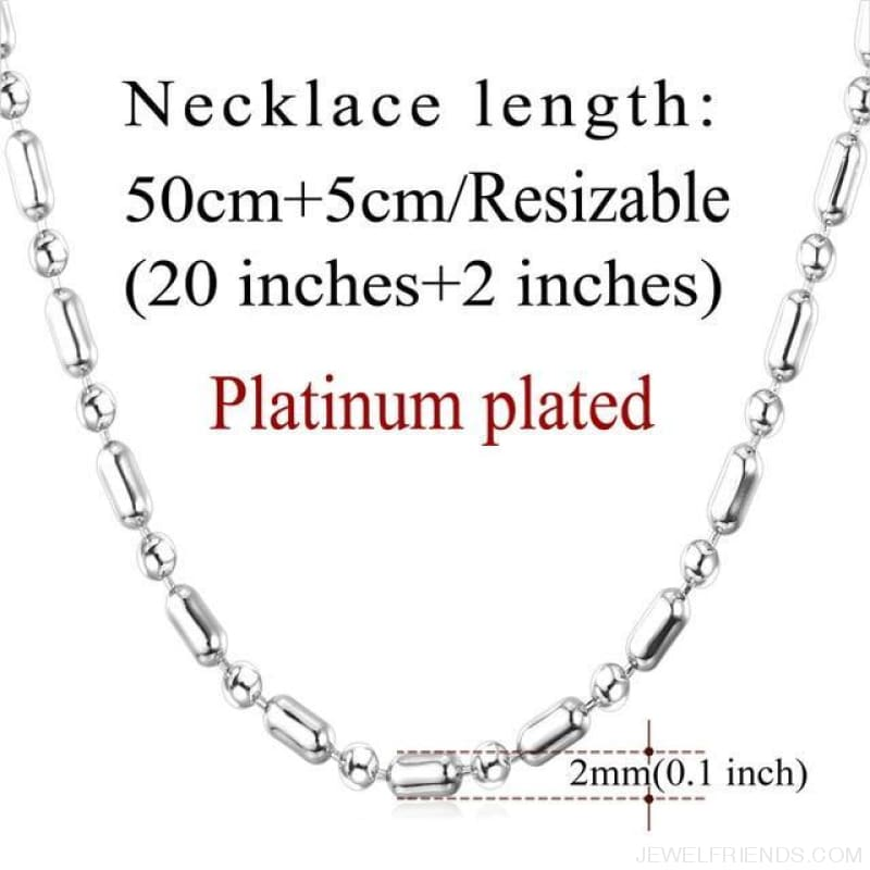 Basic Chains 3Mm/2Mm Twisted Rope Chain Necklace - Platinum Plated 3 - Custom Made | Free Shipping