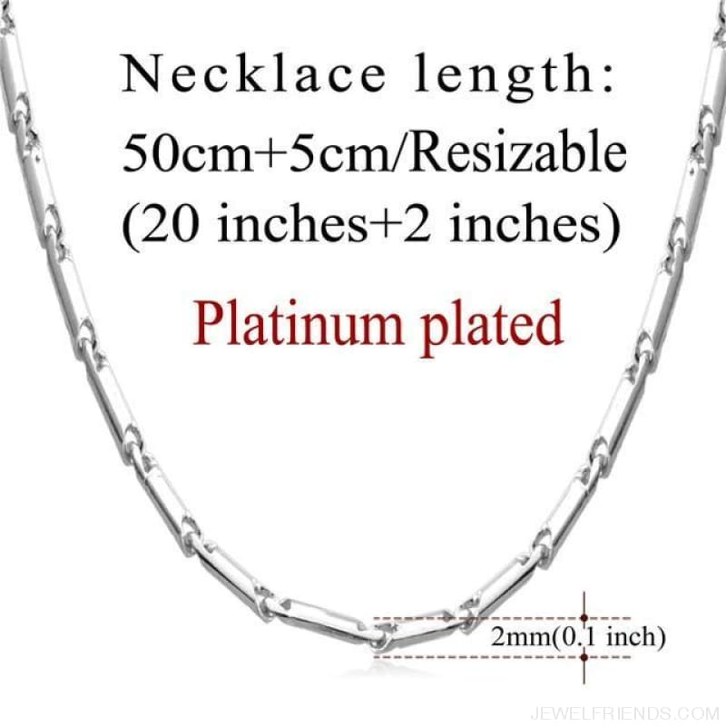 Basic Chains 3Mm/2Mm Twisted Rope Chain Necklace - Platinum Plated 4 - Custom Made | Free Shipping
