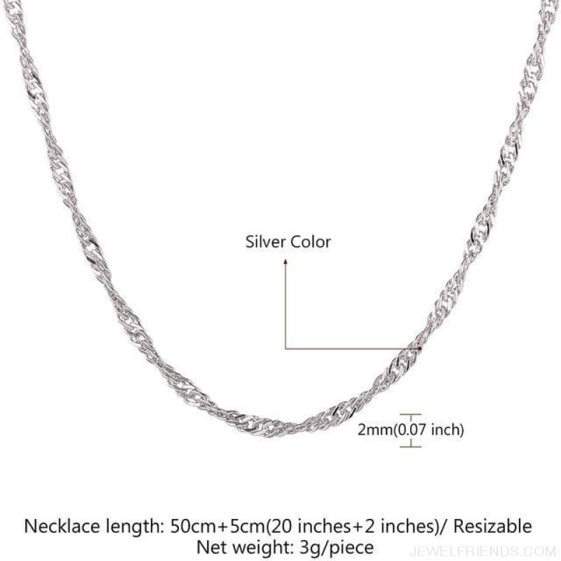 Basic Chains 3Mm/2Mm Twisted Rope Chain Necklace - Platinum Plated 5 - Custom Made | Free Shipping