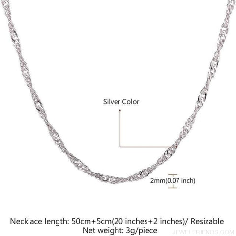 Image of Basic Chains 3Mm/2Mm Twisted Rope Chain Necklace - Platinum Plated 5 - Custom Made | Free Shipping