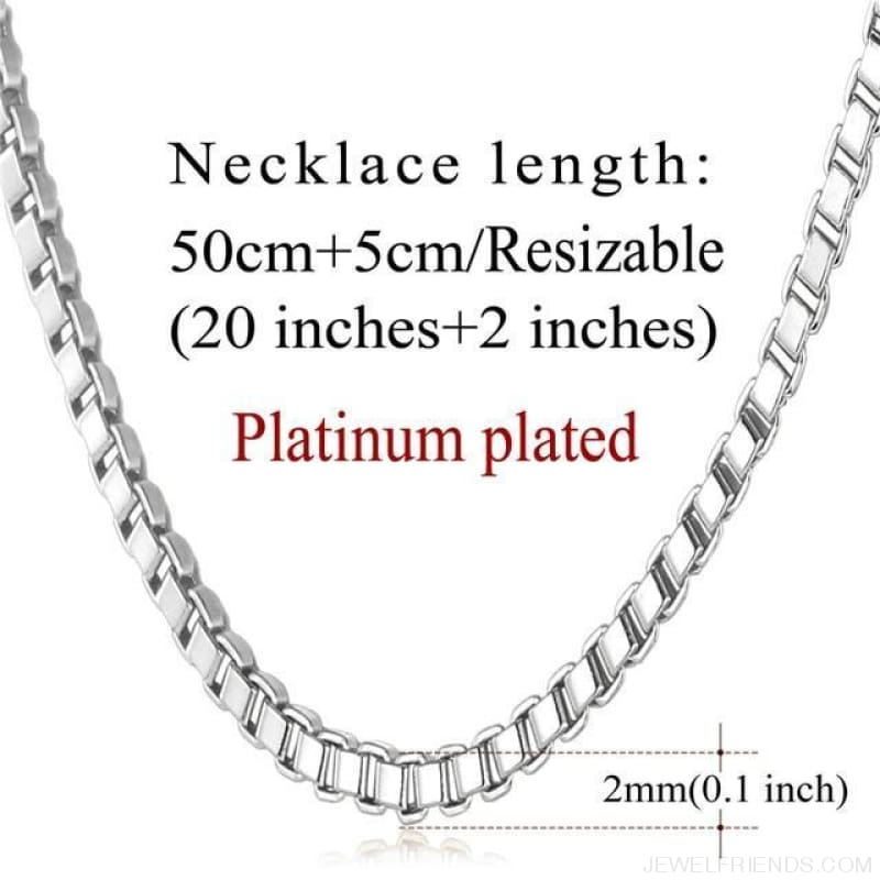 Basic Chains 3Mm/2Mm Twisted Rope Chain Necklace - Platinum Plated - Custom Made | Free Shipping
