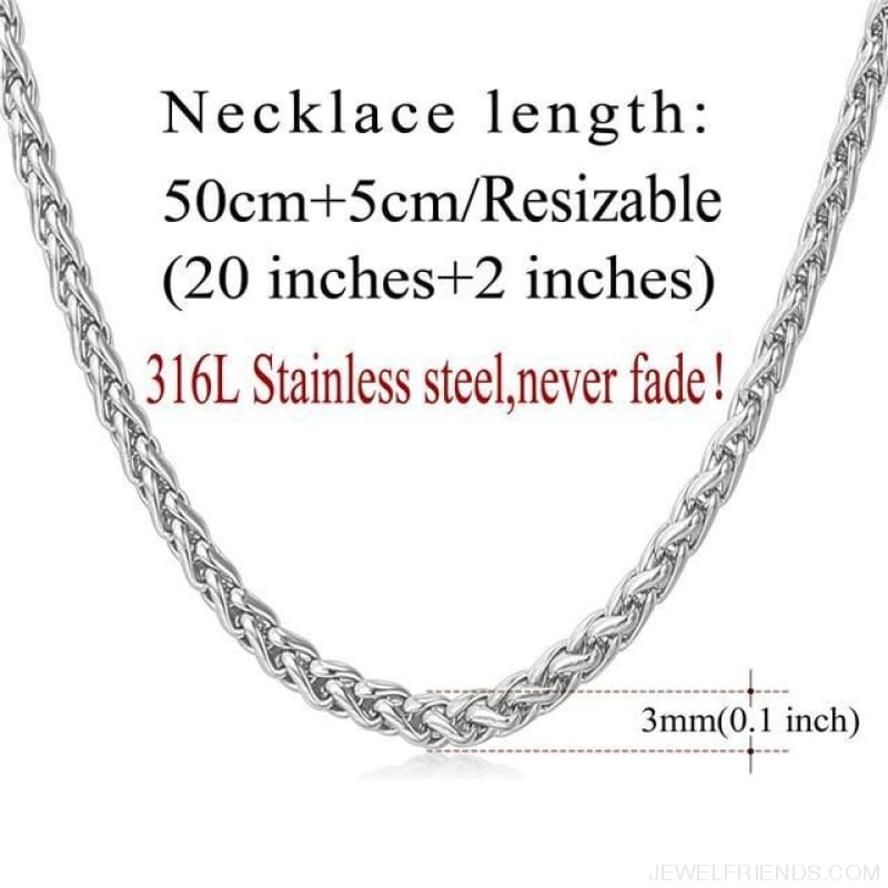 Basic Chains 3Mm/2Mm Twisted Rope Chain Necklace - Stainless Steel - Custom Made | Free Shipping