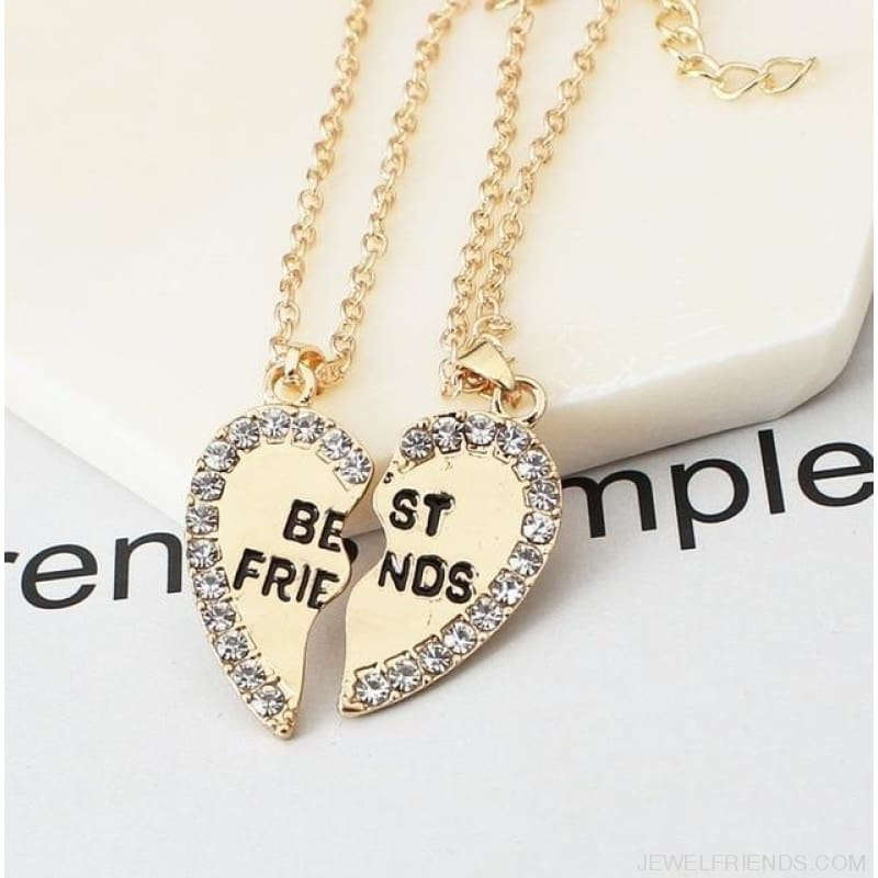 Best Friends Cubic Zirconia Heart Pendant Necklace - Gold - Custom Made | Free Shipping