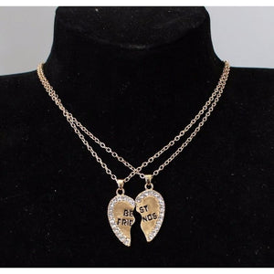 Best Friends Cubic Zirconia Heart Pendant Necklace