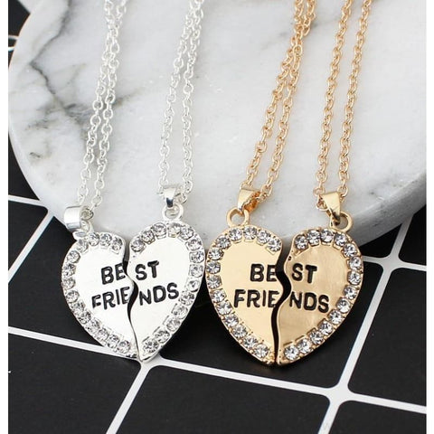 Image of Best Friends Cubic Zirconia Heart Pendant Necklace - Custom Made | Free Shipping
