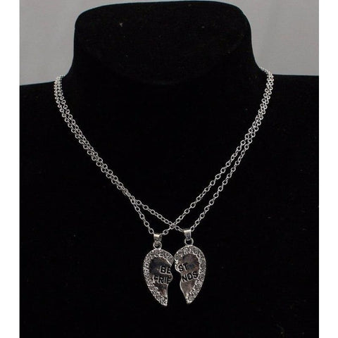Best Friends Cubic Zirconia Heart Pendant Necklace - Custom Made | Free Shipping