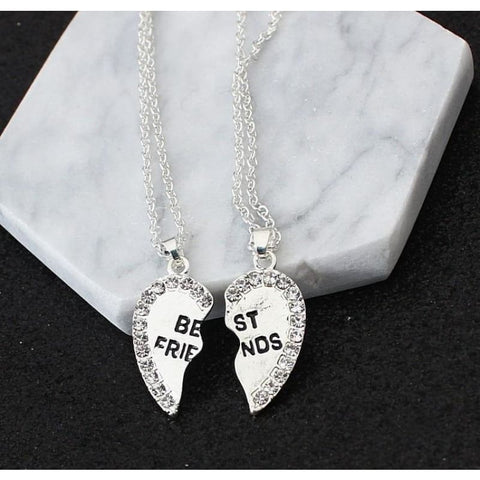 Best Friends Cubic Zirconia Heart Pendant Necklace - Silver - Custom Made | Free Shipping