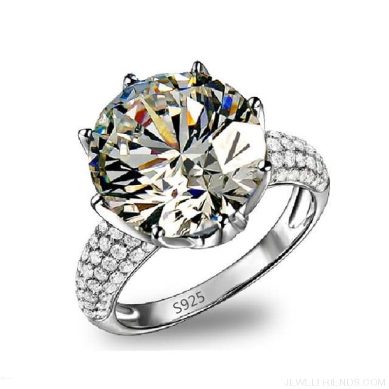 Big Aaa Zircon White Gold Color Rings Engagement - 6 / R064 - Custom Made | Free Shipping