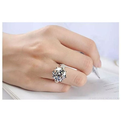 Image of Big Aaa Zircon White Gold Color Rings Engagement - Custom Made | Free Shipping