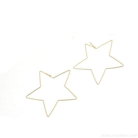 Image of Big Star Hoop Earrings - Gold - Custom Made | Free Shipping
