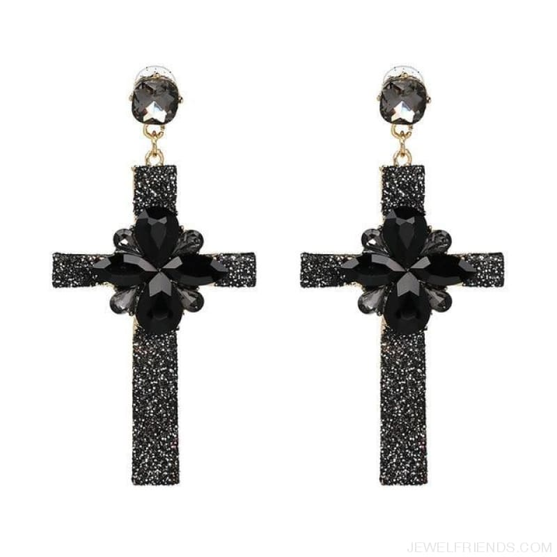 Big Statement Crystal Cross Drop Earrings - 50400Bk - Custom Made | Free Shipping