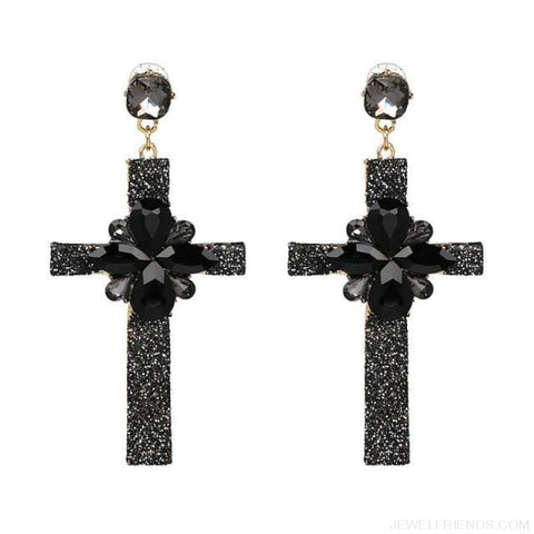 Image of Big Statement Crystal Cross Drop Earrings - 50400Bk - Custom Made | Free Shipping