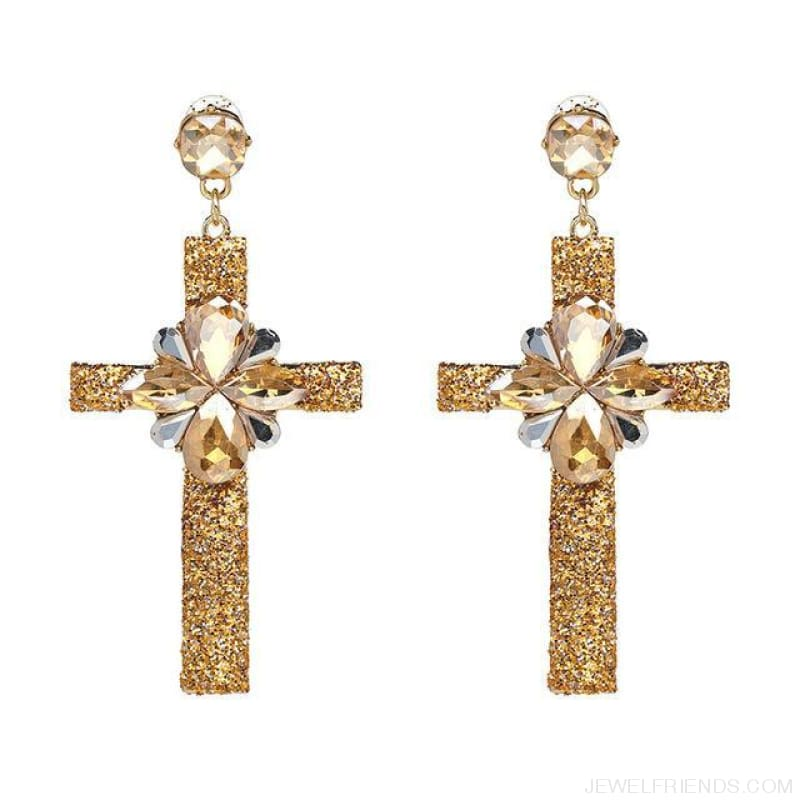 Big Statement Crystal Cross Drop Earrings - 50400Gd - Custom Made | Free Shipping