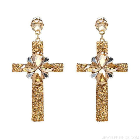 Image of Big Statement Crystal Cross Drop Earrings - 50400Gd - Custom Made | Free Shipping