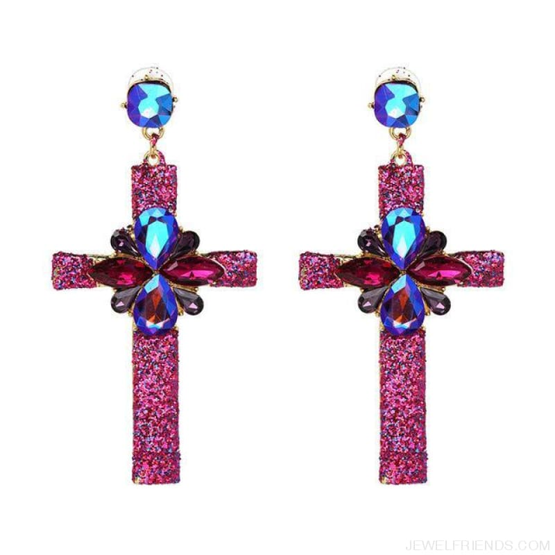 Big Statement Crystal Cross Drop Earrings - 50400Pk - Custom Made | Free Shipping