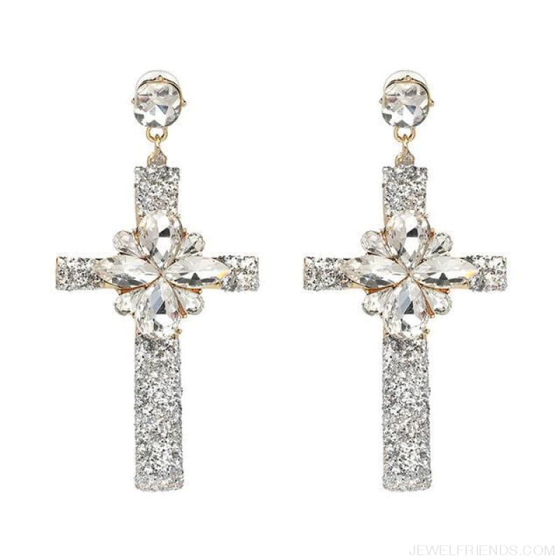 Big Statement Crystal Cross Drop Earrings - 50400Sv - Custom Made | Free Shipping