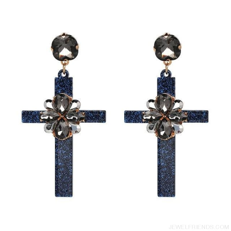 Big Statement Crystal Cross Drop Earrings - 50685Bu - Custom Made | Free Shipping