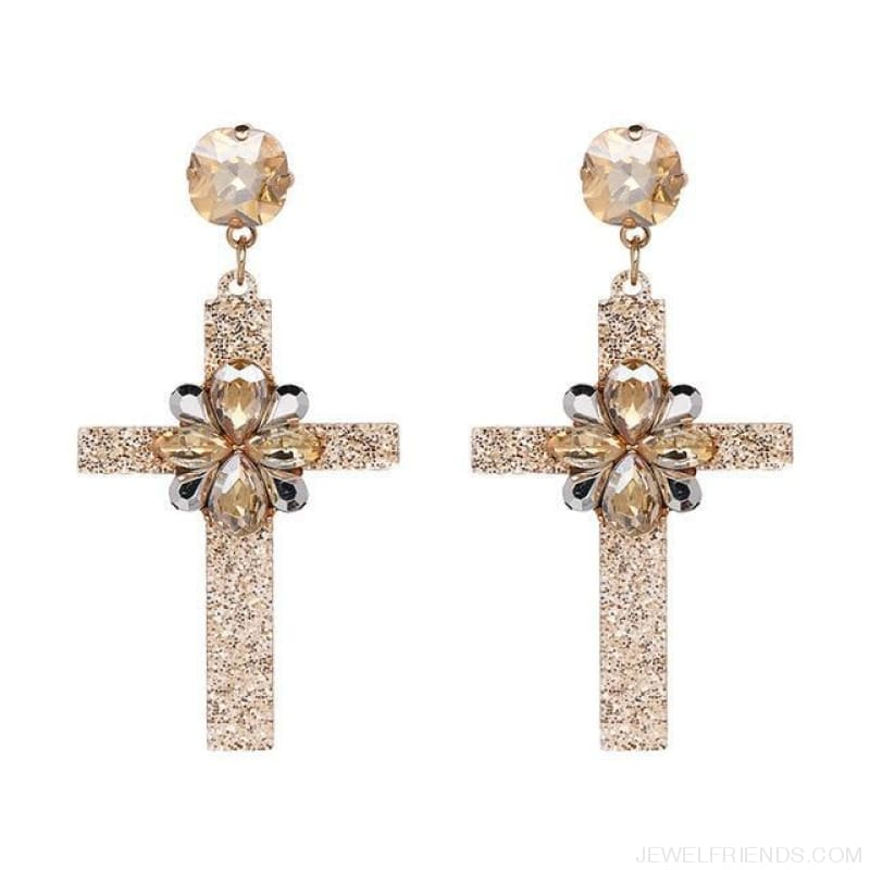 Big Statement Crystal Cross Drop Earrings - 50685Gd - Custom Made | Free Shipping