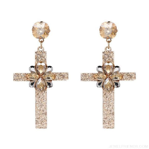 Image of Big Statement Crystal Cross Drop Earrings - 50685Gd - Custom Made | Free Shipping
