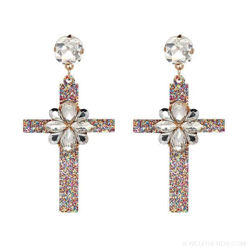 Big Statement Crystal Cross Drop Earrings - 50685Wh - Custom Made | Free Shipping