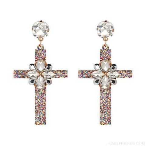 Image of Big Statement Crystal Cross Drop Earrings - 50685Wh - Custom Made | Free Shipping
