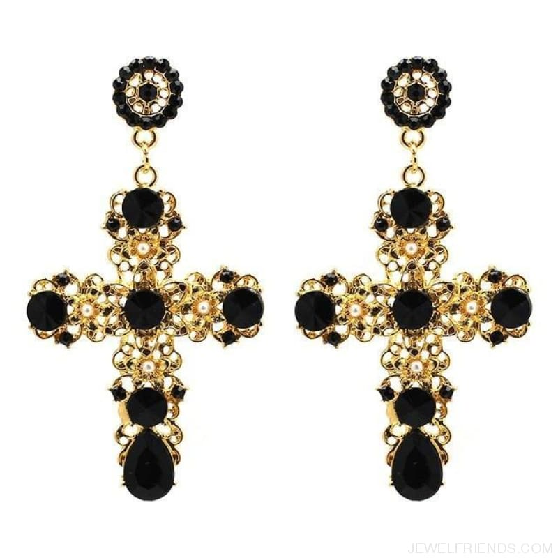 Big Statement Crystal Cross Drop Earrings - Black - Custom Made | Free Shipping