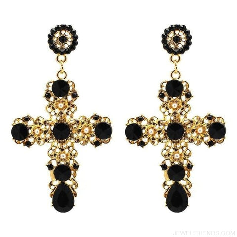 Image of Big Statement Crystal Cross Drop Earrings - Black - Custom Made | Free Shipping