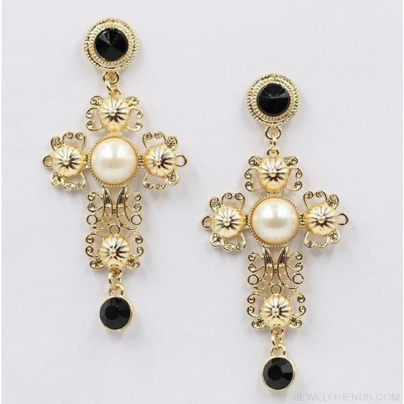 Big Statement Crystal Cross Drop Earrings - D1306 - Custom Made | Free Shipping