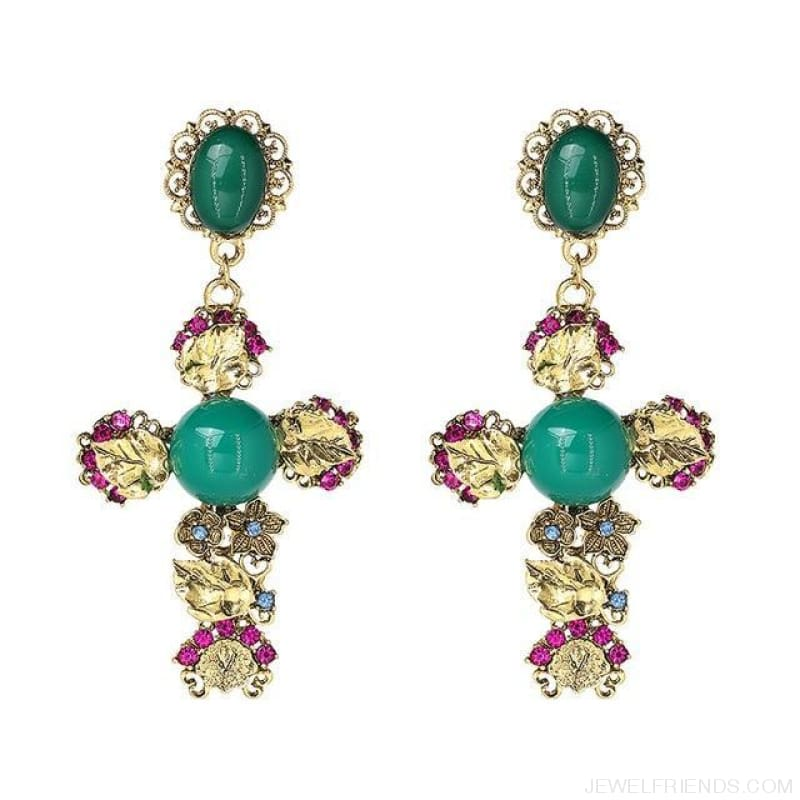 Big Statement Crystal Cross Drop Earrings - E3508Gn - Custom Made | Free Shipping