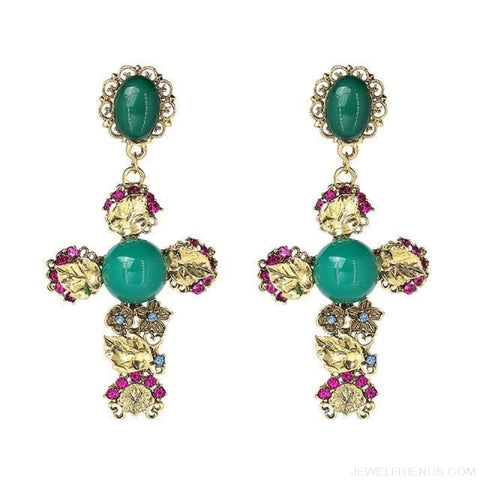 Image of Big Statement Crystal Cross Drop Earrings - E3508Gn - Custom Made | Free Shipping
