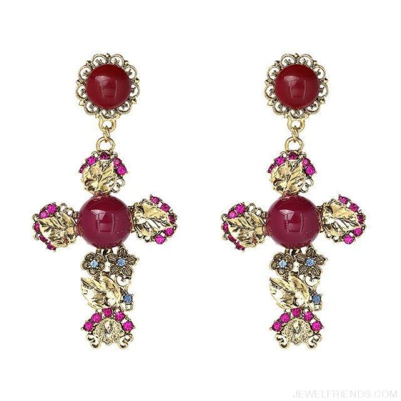 Big Statement Crystal Cross Drop Earrings - E3508Rd - Custom Made | Free Shipping