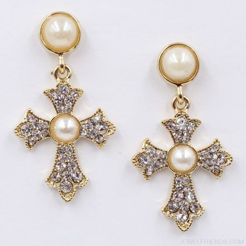 Big Statement Crystal Cross Drop Earrings - F1201 - Custom Made | Free Shipping