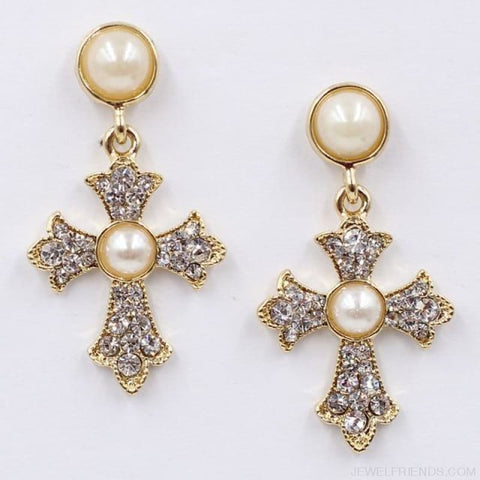 Image of Big Statement Crystal Cross Drop Earrings - F1201 - Custom Made | Free Shipping