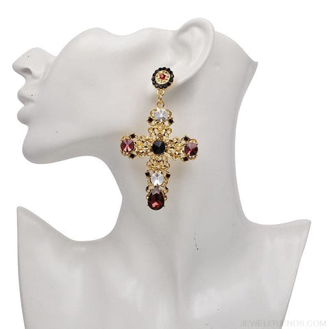 Image of Big Statement Crystal Cross Drop Earrings - Custom Made | Free Shipping