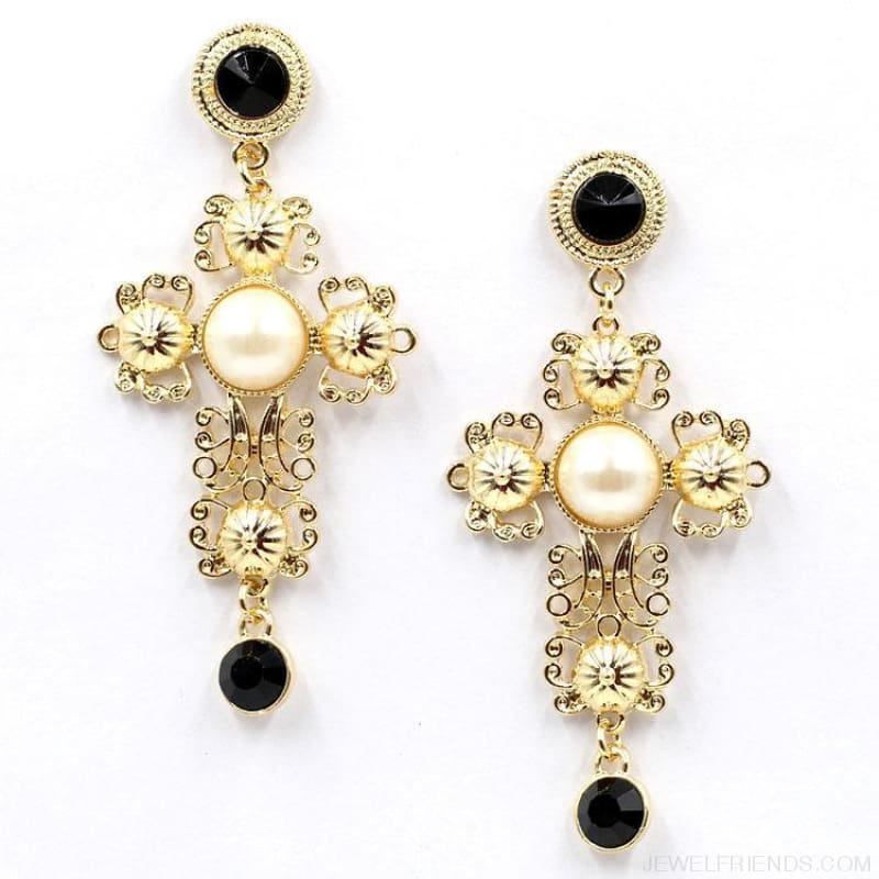 Big Statement Crystal Cross Drop Earrings - Custom Made | Free Shipping