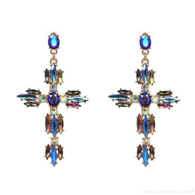 Big Statement Crystal Cross Drop Earrings - P1403Bu - Custom Made | Free Shipping