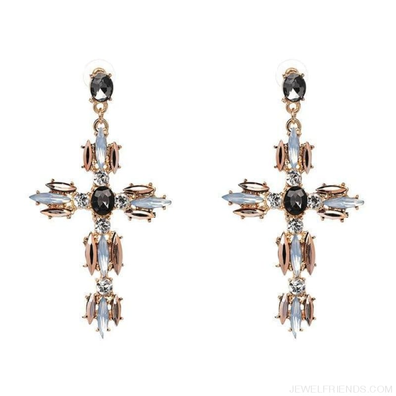 Big Statement Crystal Cross Drop Earrings - P1403Gy - Custom Made | Free Shipping