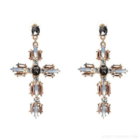 Image of Big Statement Crystal Cross Drop Earrings - P1403Gy - Custom Made | Free Shipping