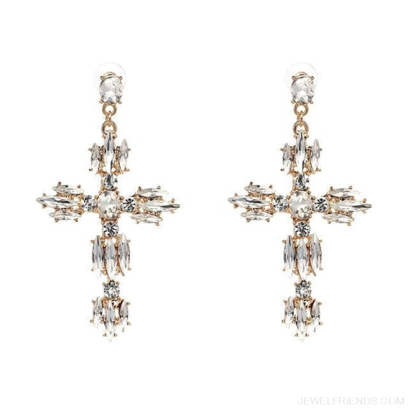 Big Statement Crystal Cross Drop Earrings - P1403Wh - Custom Made | Free Shipping