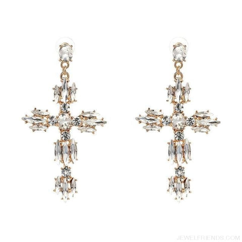 Image of Big Statement Crystal Cross Drop Earrings - P1403Wh - Custom Made | Free Shipping