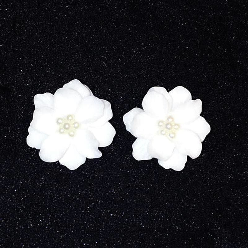 Big White Flower With Pearls Stud Earrings - Custom Made | Free Shipping