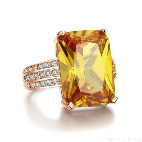 Big Yellow Zirconia Stone Rings - Custom Made | Free Shipping